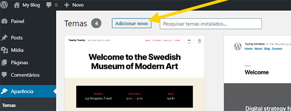 Adicionar Novo Tema WordPress